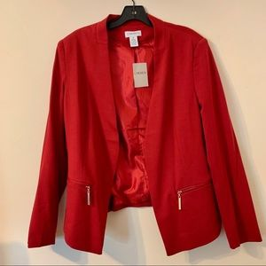 NWT Carmen by Carmen Marc Valvo Zip-Pocket Blazer